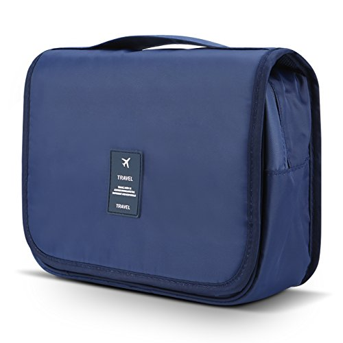 Mossio Hanging Toiletry Bag - Large Cosmetic Makeup Travel Organizer for Men & Women with Sturdy Hook (Dark Blue)