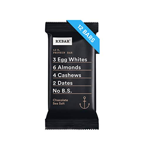 RXBAR, Chocolate Sea Salt, Protein Bar, 1.83 Ounce (Pack of 12) Breakfast Bar, High Protein Snack