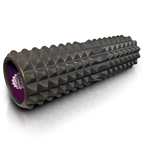 Planet Fitness Muscle Massager Foam Roller for Deep Tissue Massage, Back, Trigger Point Therapy, Grey 18'