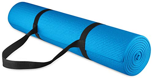 BalanceFrom GoYoga All Purpose High Density Non-Slip Exercise Yoga Mat with Carrying Strap, 1/4', Blue