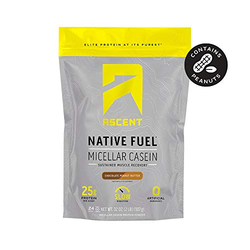 Ascent Native Fuel Micellar Casein Protein Powder - 2 Lbs - Chocolate Peanut Butter