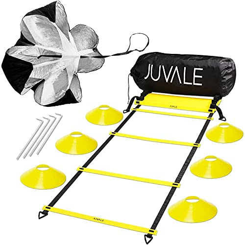 Speed and Agility Ladder Training Equipment Set with 6 Disc Cones, Resistance Parachute for Football, Workout, Footwork