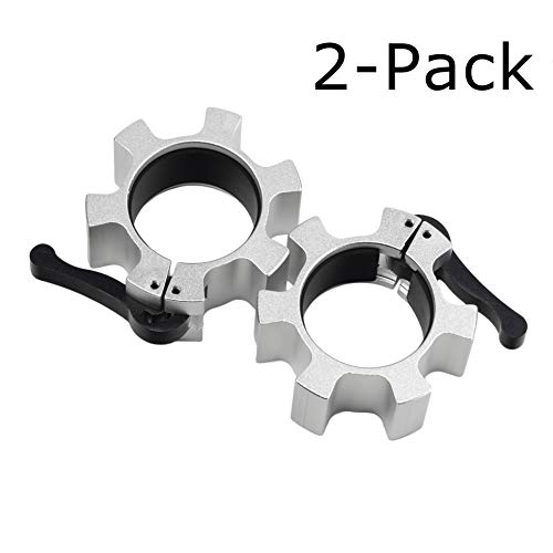 2 Pcs Aluminum Alloy Barbell Collars, Heavy Duty 2 inches Silver Exercise Collars Olympic Barbell Clip Clamps for Gym Fitness Training Workout Weightlifting