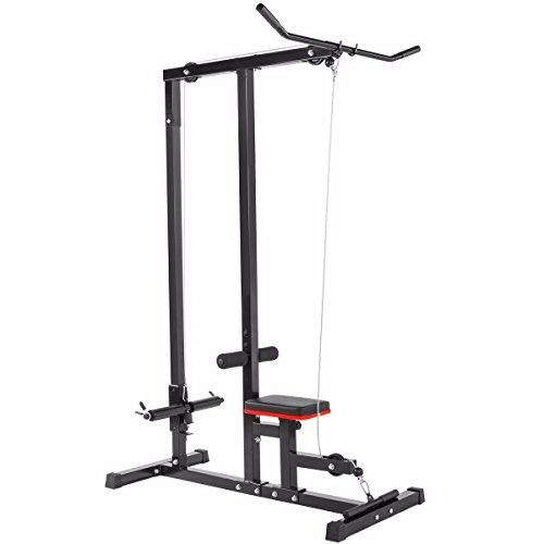 XtremepowerUS LAT Machine Indoor Sports Body LAT Pull Down Machine Home Gym Low Bar Cable Fitness Training Weigh
