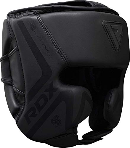 RDX Headguard for Boxing Training - Matte Black Padded Head Guard for Face, Cheeks & Ear Protection-Headgear for Grappling, MMA, Muay Thai, Kickboxing, Karate, BJJ, Taekwondo, Fighting, Martial Arts