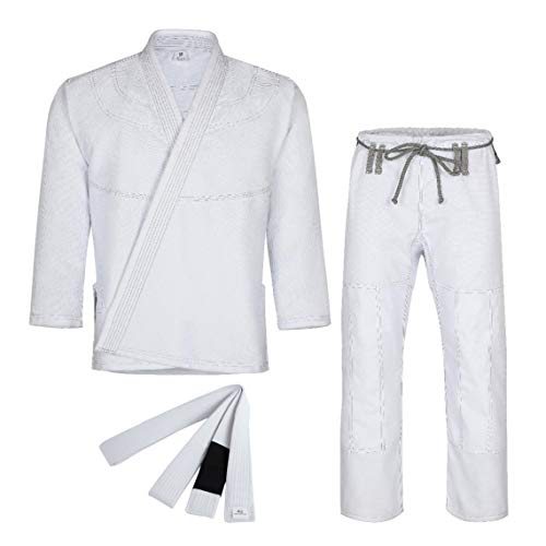 Knockout Fight Gear Brazilian Jiu Jitsu Gi for Men & Women Uniform Kimonos Medium Weight, Preshrunk with Free White Belt (A1, White)