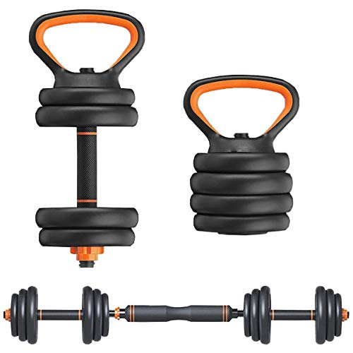 Elevens 66 Lbs Dumbbell Set with Barbell Kettlebell and Push Up Bar Function