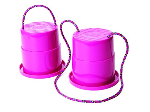 Just Jump It Set of 2 EZ Steppers - Active Indoor and Outdoor Activities for Kids - Can Stepper Toys - Raspberry