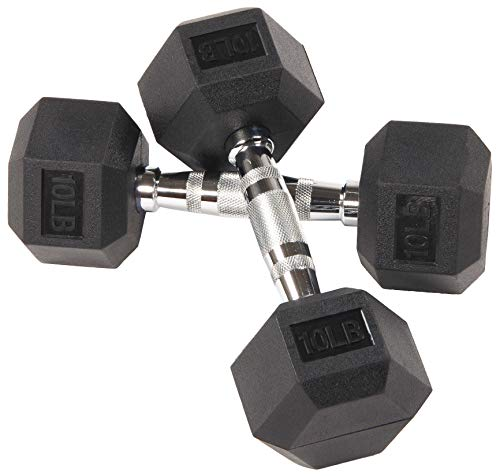 BalanceFrom Rubber Encased Hex Dumbbell in Pairs, Black, 10 lbs