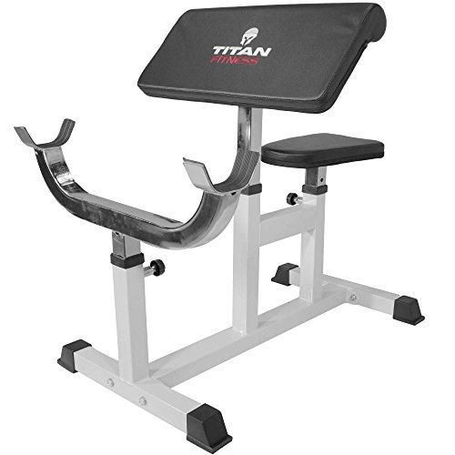 Titan Preacher Curl Station Seated Strength Training Bench Bicep Home Gym Fitness Equipment