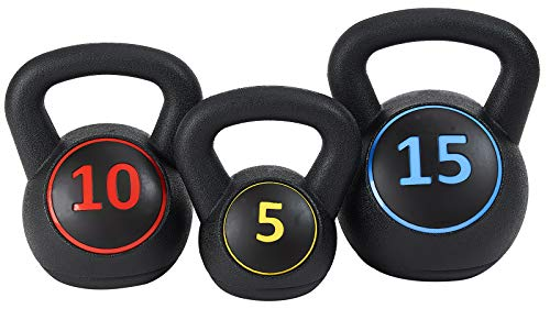BalanceFrom Wide Grip Kettlebell Exercise Fitness Weight Set, Includes 5 lbs, 10 lbs, 15 lbs