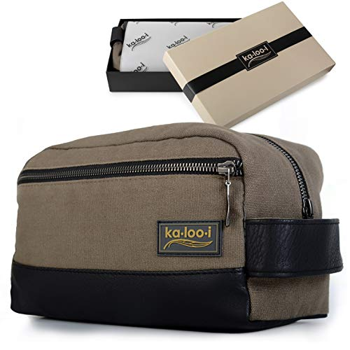Toiletry Bag for Men - Canvas Dopp Kit for Travel, Gym, Grooming & Shaving, Waterproof Lining, 10' x 4.5' x 5.5', Olive Green Color with Vegan Leather Trim, Comes in Gift Box by Kalooi