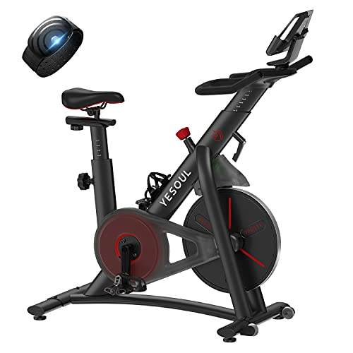 YESOUL Magnetic Resistance Exercise Bike, Smart Indoor Cycling Bike Supports Connect Multiple Apps via Bluetooth, Quiet Belt Drive Stationary Bike with Heart Rate Monitor