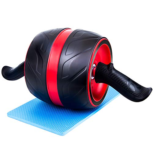 AmoVee Home Fitness Ab Rollers, Indoor Fitness Equipment with Knee Pads, Ab Roller Wheel Exercise for Automatic Abdominal Exercise, Ab Exercise Workout Equipment Men Women (Red)