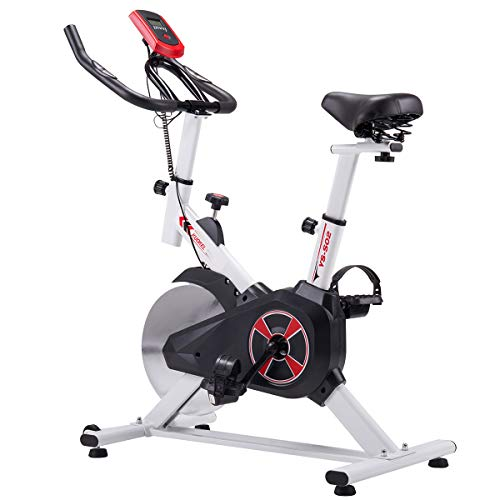 KUOKEL Cycling Bike, Indoor Exercise Bike Spin Bike 24lb Flywheel Digital Monitor Indoor Cycle Water Holder Adjustable Seat & Handlebars Home Use (White)