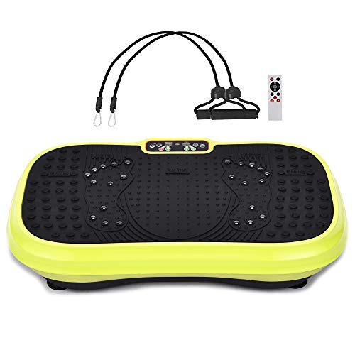 muchoo Vibration Plate Fitness Machine Whole Body Workout Platform Machine w/Loop Bands Body Slimmer Weight Loss and Home Training & Exercise Lemon