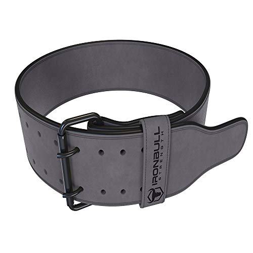 Iron Bull Strength Powerlifting Belt/Weight Lifting Belt - 10mm Double Prong - 4-inch Wide - Advanced Back Support for Weightlifting and Heavy Power Lifting (Grey, Large)