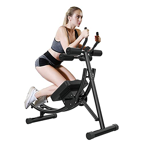 Ab Machine, Core Abdominal Workout Coaster Height Adjustable Strength Training Cruncher Full Body Exercise Equipment with Digital Monitor Foldable Abs Fitness Trainers for Home Gym, Office (Black)