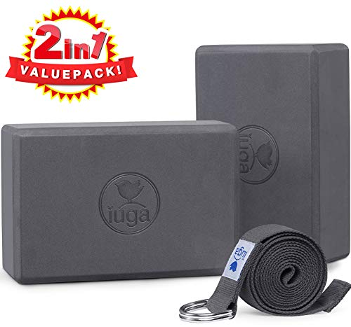 """IUGA Yoga Block (2PC) 9""""x6""""x6"""" with Metal D-Ring Yoga Strap, High Density Yoga Brick to Improve Strength, Flexibility and Balance, Light Weight and Non-Slip Surface for Yoga, Pilates and Meditation"""