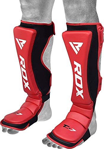 RDX Shin Guards for MMA Fighting & Kickboxing Training | Maya Hide Leather Muay Thai Instep Leg Protective Gear | Great Protector Pads for, Martial Arts, Sparring, BJJ, Karate