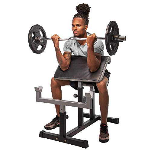 StrengthTech Fitness USA Made Adjustable Arm Preacher Curl Weight Bench | Fitness Gym Quality | Powder Coated Steel | Gray & Black