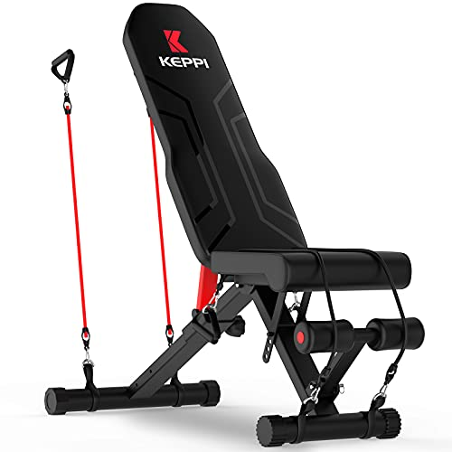 Keppi Adjustable Weight Bench-Foldable Workout Bench Press for Full Body Strength Training, Incline Decline Bench with Fast Folding - 2021 Version