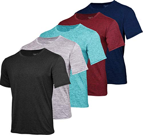 Men's Quick Dry Fit Dri-Fit Short Sleeve Active Wear Training Athletic Essentials Crew T-Shirt Fitness Gym Wicking Tee Workout Casual Sports Running Undershirt Top - 5 Pack,Set 1-L