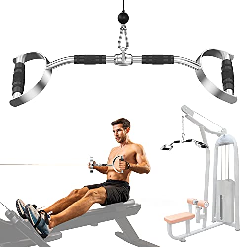 Ulalov LAT Pull Down Bar with Handls, Pull Down Machine Attachments, 27in/70cm Bar with 880lbs Loading, Tricep Press Down Bar,Solid Steel Meterial with Rubber Handle for Home Gym or Exercise Club