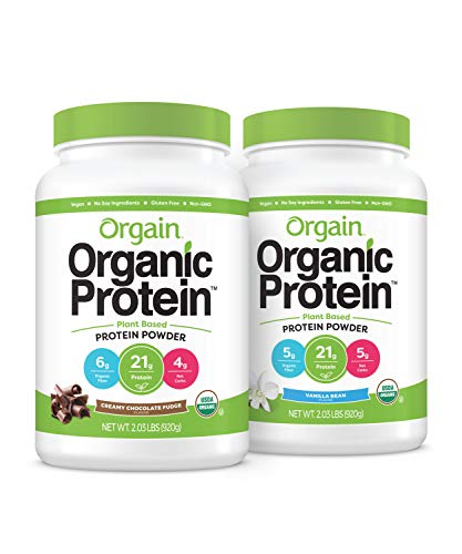Orgain Bundle - Chocolate and Vanilla Bean Protein Powder - (20 Servings Each) Vegan, Low Net Carbs, Made Without Dairy, Gluten and Soy