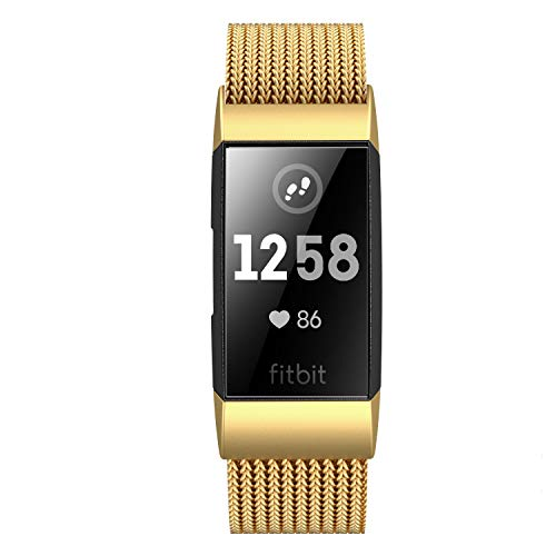 Fitlink Stainless Steel Metal Replacement Bands for Fitbit Charge 3/ Charge 3 SE/Fitbit Charge 4 2020 for Women Men, Multi Colors Multi Sizes (Gold, Small(5.5 ''- 8.5''))