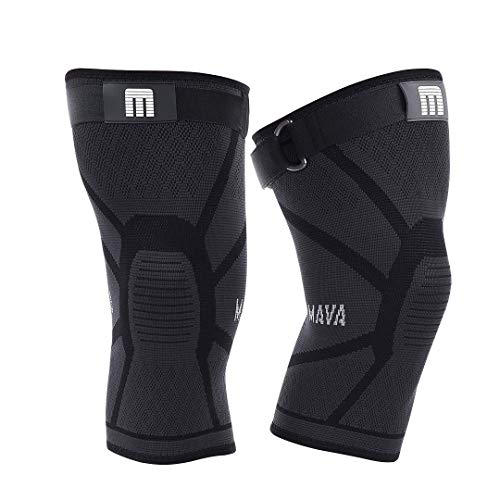 Mava Sports Knee Compression Sleeve Support for Men and Women - Perfect for Powerlifting, Weightlifting, Running, Gym Workout, Squats and Pain Relief