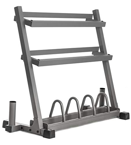 XMark All-in-One Dumbbell Rack, Plate Weight Storage and Dual Vertical Bar Holder, Design Patent Pending