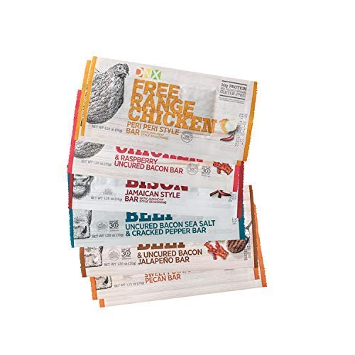 DNX Bar Variety (12 Pack)- Grass Fed Bison, Free Range Chicken, Grass Fed Beef, Uncured Bacon, High Protein Meat Snacks, Keto, Paleo, Whole30, Gluten-Free, Dairy-Free, Grain-free, Nitrate-Free