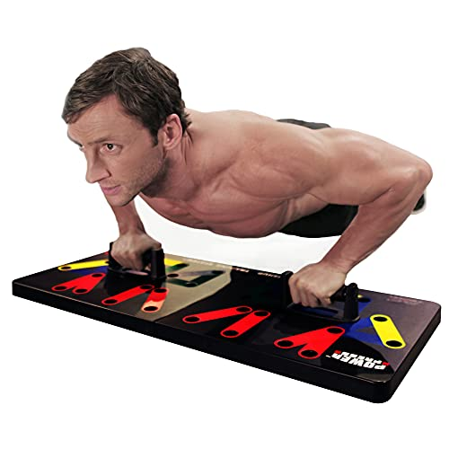 Power Press Push Up Board – Home Workout Equipment, Push Up Bar with 30+ Color Coded Combo Positions for Exercise – Portable Gym Accessories for Men and Women, Strength Training Equipment, Original