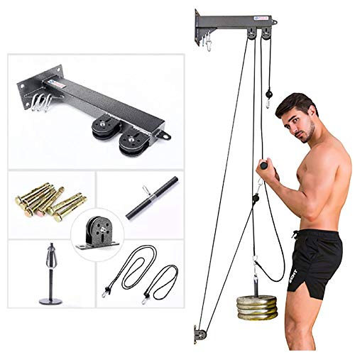 Tricep Workout Machine Wall-Mounted Cable Pulley System with Loading Pin for LAT Pull Down, Tricep and Ab Pulldowns, Biceps Curl, Forearm and Wrist Blaster at Home Gym
