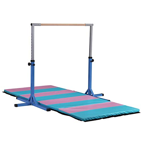 HYD-Parts Adjustable Height Kip Bar Fitness Gymnastics Training Bar (no mat Included),Horizontal Kip Bar for Kids,Blue Color