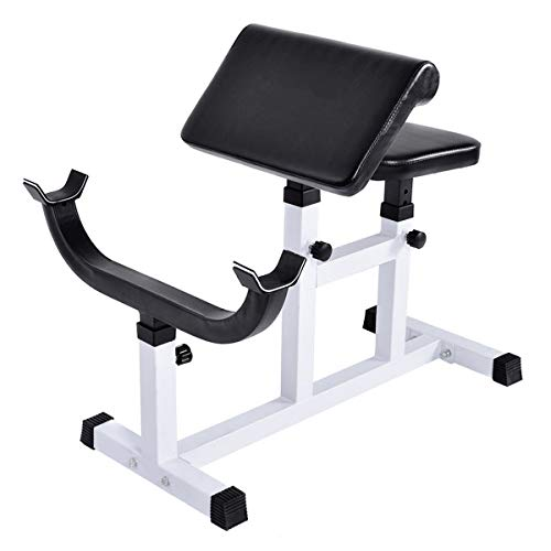 GYMAX Preacher Curl Weight Bench, Heavy Duty Adjustable Arm Curl Bench for Upper Limb Muscle Strength Training, Daily Exercise & Workout, Isolated Barbell Dumbbell Biceps Station (White)