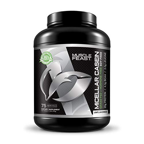 MUSCLE FEAST Grass Fed Micellar Casein, All Natural, Hormone Free, Slow Digesting, 100% Pure, 20g Protein, 88 Calories (Unflavored, 4lb)