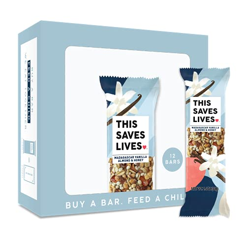 This Bar Saves Lives Chewy Granola Bars, Madagascar Vanilla Almond and Honey, 12 Pack | Gluten Free Healthy Snacks, Low Calorie Breakfast Bars, Kosher, Non GMO Snack Bar for Adults & Kids | 1.4 oz Bar