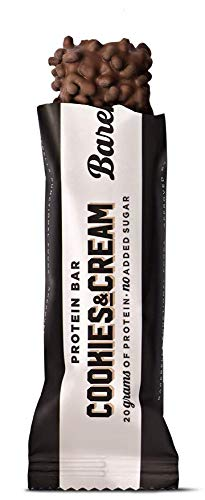 Barebells Cookies and Cream High Protein and Low Carb Bar, 12 x 55g (1,94 oz) Low Sugar Snack Protein Bar with 20g protein