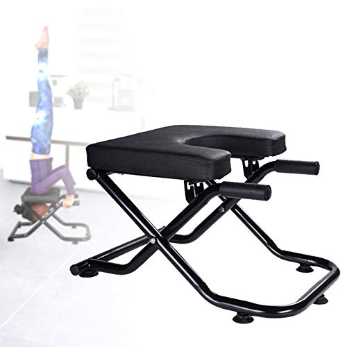 KOKSRY Yoga Headstand Bench, Foldable Yoga Inversion Chair Max Load 440lb with Handles, Feet Up Trainer for Practice Head Stand, Shoulderstand and Strength Training