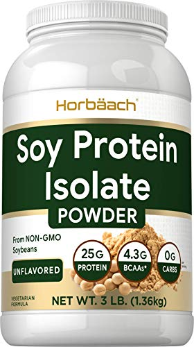 Unflavored Soy Protein Isolate Powder | 3lb | Vegan, Vegetarian, Non-GMO, Gluten Free | 25g Protein Supplement | by Horbaach