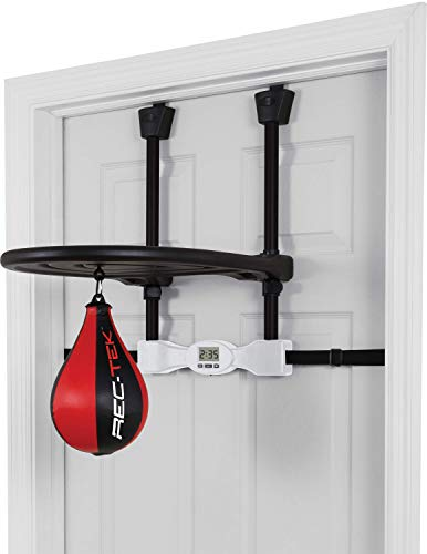 Rec-Tek Kids Over The Door Speed Bag – Features Easy Setup with No Tools Required, Automatic Scoring, and Adjustable Height – Designed for Kids Play