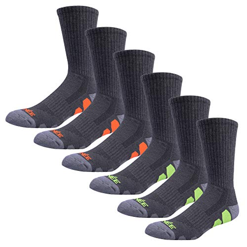 JOYNÉE Mens Athletic Crew Socks with Cushion for Running and Workout 6 Pack,Grey 1,Sock Size:10-13
