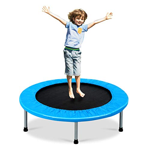 Giantex Mini Fitness Trampoline for Adults and Kids, 38 Inch Rebounder Trampoline, with Padding & Springs Elastic Safe for Indoor Outdoor Exercise Workout, Foldable Exercise Trampoline (Blue)