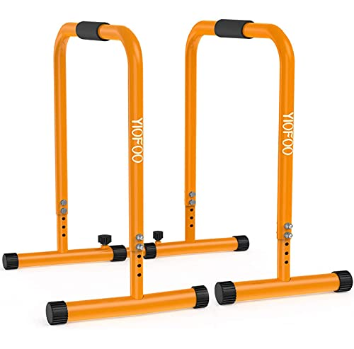 YIOFOO Adjustable Dip Station - Multifunctional Dip Stand Bar with Safety Connector for Home Gym & Body Weights Strength Training