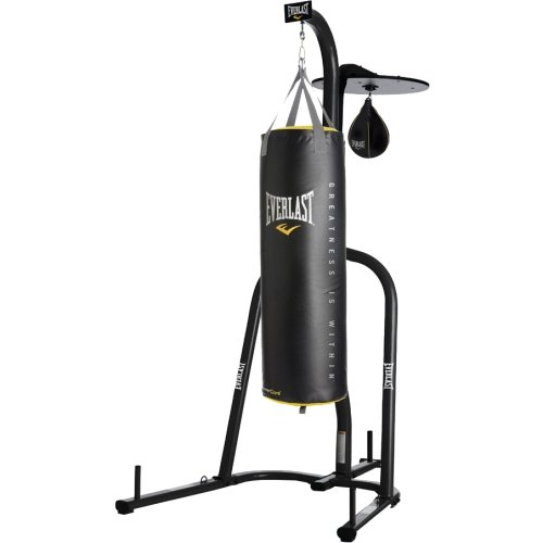 Everlast Dual Station Punching Bag Stand w/ 100 lb PowerCore Heavy Bag and Everhide Speed Bag
