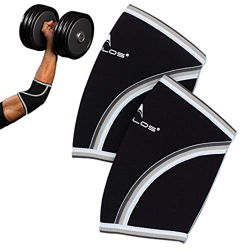 Compression Elbow Sleeves(Pair), 5mm Neoprene,Perfect Support for Crossfit,Weightlifting,Powerlifting,Tennis, Golf & Basketball (X-Large, Black)