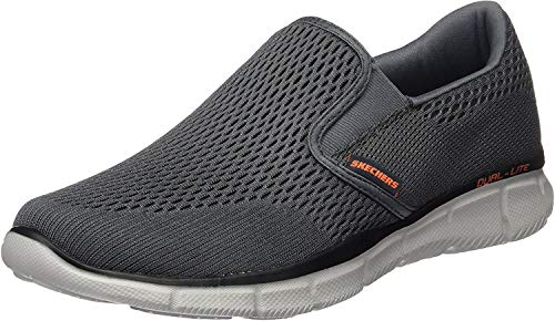 Skechers Men's Equalizer Double Play Slip-On Loafer,Charcoal/Orange,9.5 M US