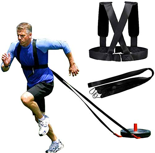 Biagao Sled Harness Tire Pulling Harness Fitness Resistance Training Workout Tire Pulling Harness, Football Workout Resistance Speed Agility Training Kits -Adjustable Padded Shoulder Strap